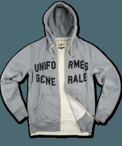 UG College Zip hoody grey melange