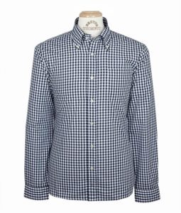 Brutus Trim Fit NAVY AND WHITE GINGHAM TRIMFIT LONG SLEEVE