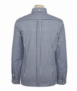 Brutus Trim Fit NAVY AND WHITE GINGHAM TRIMFIT LONG SLEEVE2
