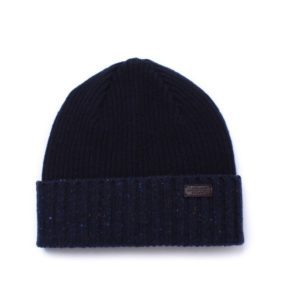 BARBOUR CASSOP NAVY FLECK KNITTED BEANIE