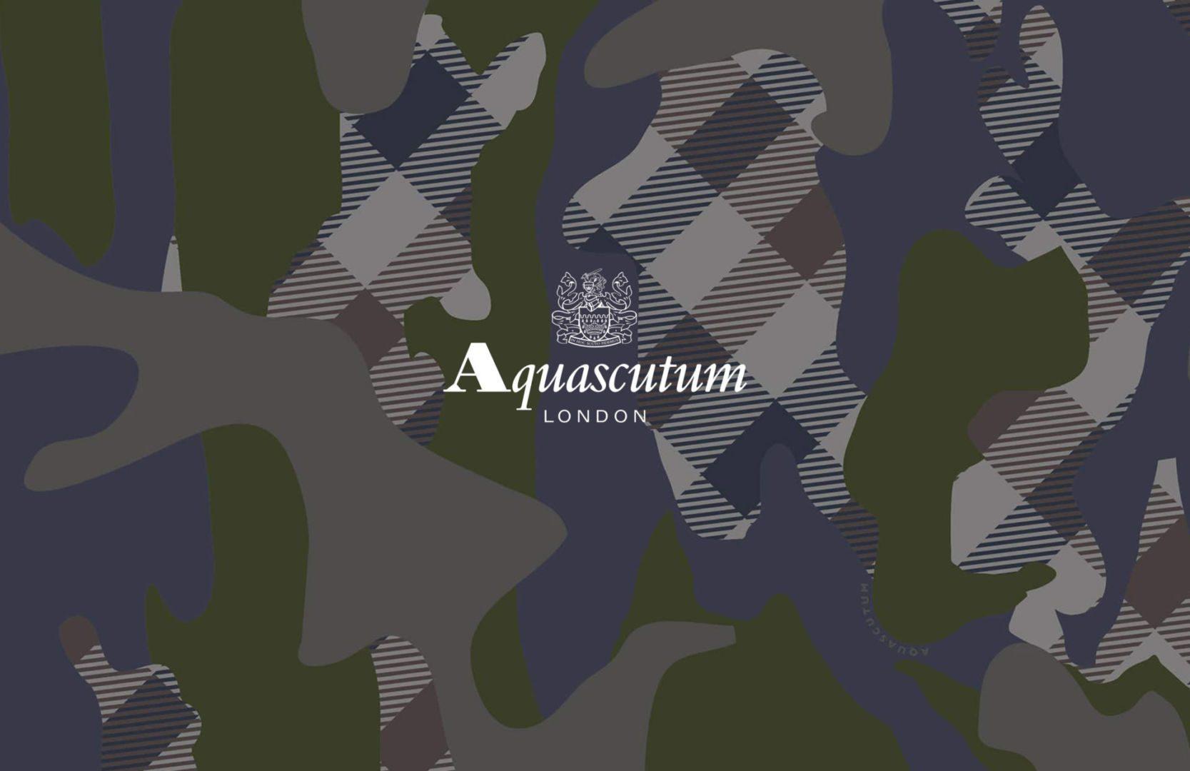 Aquascutum kombiniert das Club Check mit einem Tarnfarbenmuster
